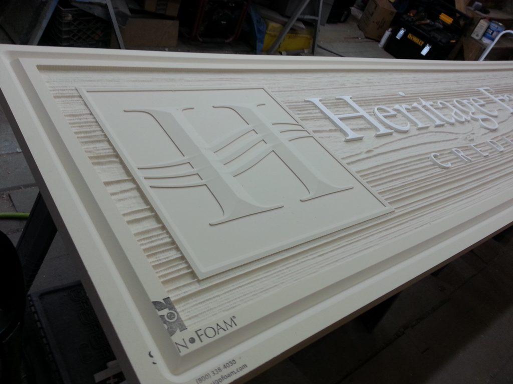 Machined HDU foam, faux wood grain